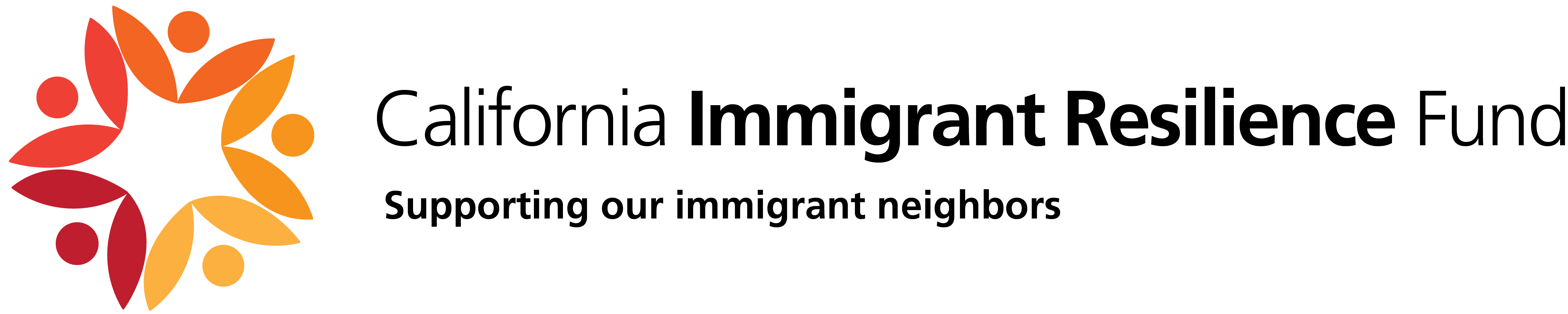 California Immigrant Resilience Fund logo, which features a yellow-orange-brown blossom logo on the left and the name on the right, with the tagline, Supporting our immigrant neighbors, underneath.