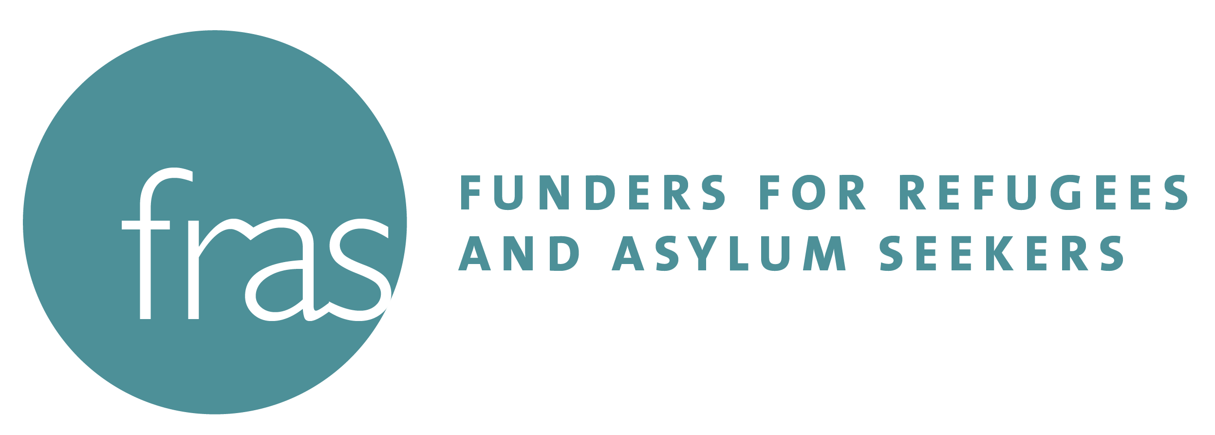 The Funders for Refugees and Asylum Seekers logo, which features the acronym in white letters in an aquamarine circle, with the full name to the right, spelled out in the same color on a white background. Posted in conjunction with GCIR's webinar, FRAS Funder Update Call.