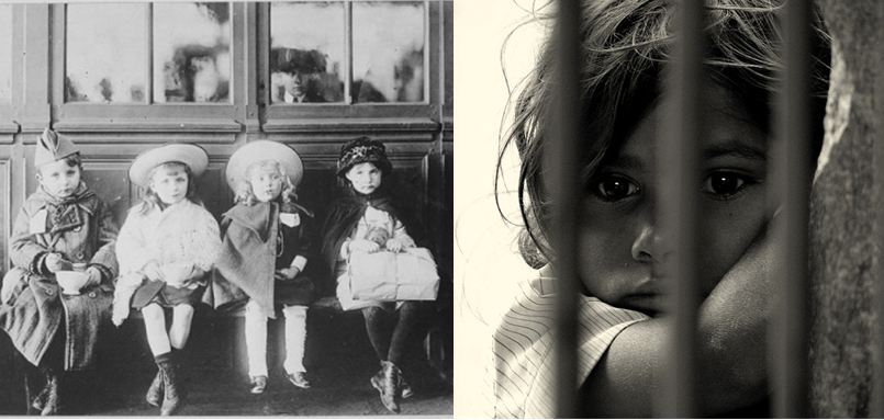 French refugee children in 1917 (left) and a representation of a child in detention today (right).