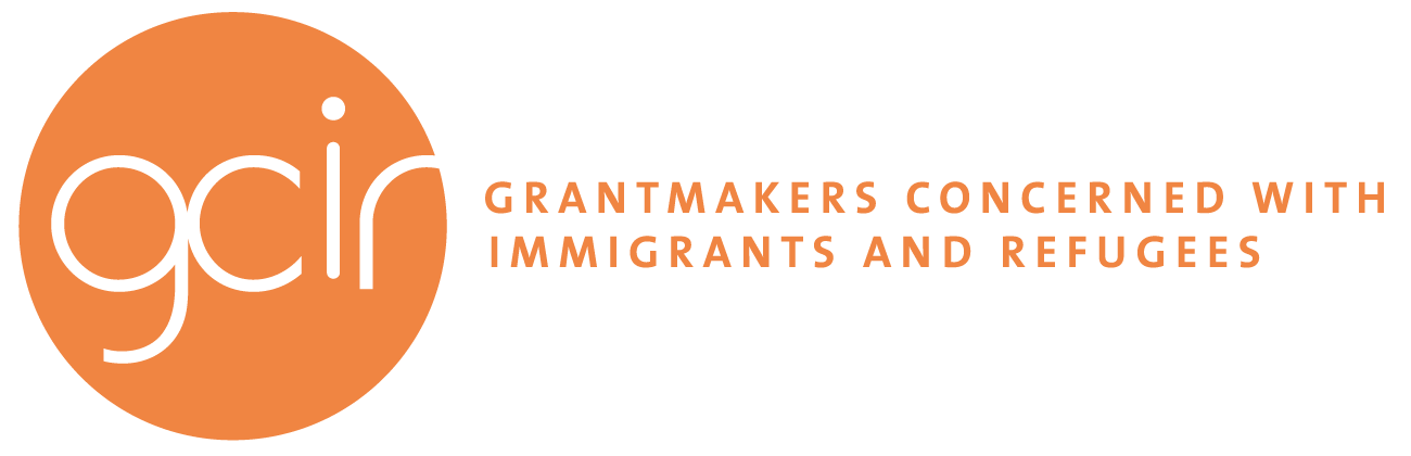 Grantmakers Concerned with Immigrants and Refugees Logo with text to the right; acronym in orange circle. Accompanies Career Opportunity: Program and Information Resources Manager