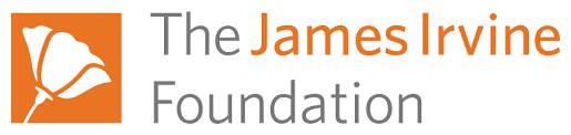 The James Irvine Foundation logo, which features a white flower on an orange square background to the left of their spelled out name. Posted to accompany their statement, Standing up to divisiveness, providing aid for immigrant families.