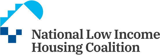 National Low Income Housing Coalition logo, which features their name on the right in black letters and a series of blue triangles, blocks, and half circles on the left.