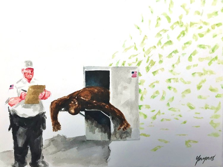 "Artwork showing white guard who is filling out a form while a black man is fed through a machine, out of which flies dollar bills. The work is by James ""Yaya"" Hough, State Correctional Institution, Phoenix, PA, and titled, I am the Economy."