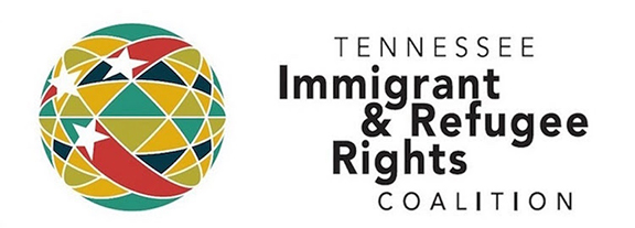 Tennessee Immigrant & Refugee Rights Coalition's logo, which features their name on the right with a red, yellow, green, and black globe with white stars. Posted to accompany TIRRC's resource, Lessons from East Tennessee: A Toolkit for Organizations Responding to Mass Worksite Immigration Raids.