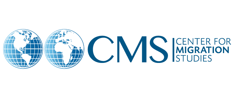 Center for Migration Studies logo, which pictures two blue-white globes, one picturing the continents of North and South America, the other showing Africa, Europe, and part of Asia. The letters CMS are to the right of the globes, with the full name spelled out further to the right. Posted in relation to their analysis, Overstays Exceeded Illegal Border Crossers after 2010 Because Illegal Entries Dropped to their Lowest Level in Decades.