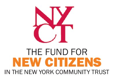 Shows the New York Community Trust logo above The Fund for New Citizens logo. The fund is the organizer of Federal Border Policy & What it Means for Our City's Immigrants.