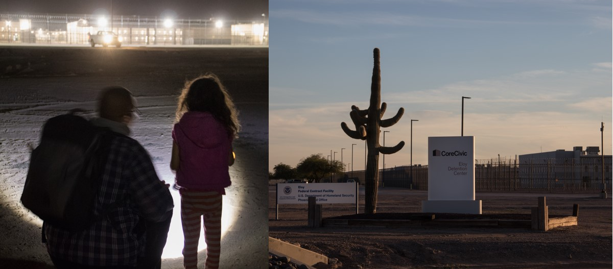 A photo collage, showing a night vigil on the left, with a young child and adult standing in front of a detention facility, and a picture of the Eloy Detention Center sign on the right, showing the center's exterior fencing. Posted to accompany GCIR's webinar, A Primer on Divesting from Immigrant Detention.
