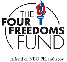 Four Freedoms Fund logo with red and blue torch
