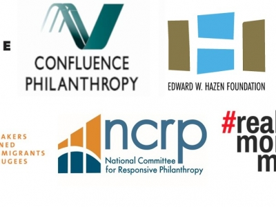 The logos of Candide Group, Confluence Philanthropy, Edward W. Hazen Foundation, Freedom to Thrive, Grantmakers Concerned with Immigrants and Refugees, National Committee for Responsive Philanthropy, and Real Money Moves. Accompanies the joint issue brief, How to Divest from Immigrant Detention: A Philanthropic Primer.