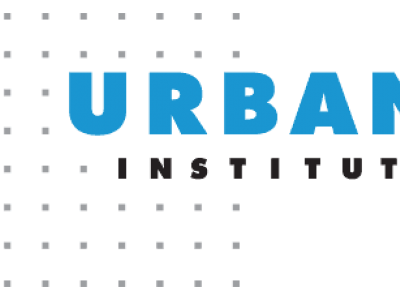 Urban Institute logo, which features their name, first word in larger blue letters, second in black, over a dotted grid pattern. Accompanies their brief, Safety Net Access in the Context of the Public Charge Rule.