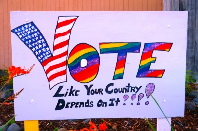 "Sign that says, ""Vote Like Your Country Depends On It"""