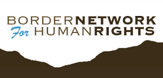 Border Network for Human Rights logo, featuring their logo above a silhouette of a mountain range. Posted to accompany their press release, Sixth Migrant Child Dies in Trump Administration Custody.