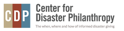 The Center for Disaster Philanthropy, which features their acronym in tan, maroon, and blue boxes to the left of their spelled out name and their tagline. Posted to accompany their blog post, Actions Have Consequences.