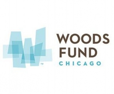 Woods Fund Chicago logo, which features the first two words of their name in large dark text, with Chicago below it in blue, and a cityscape-esque collection of four-sided shapes in shades of blue on the left. Posted to accompany their statement, Woods Fund Statement on the HUD Proposed Rule Change.