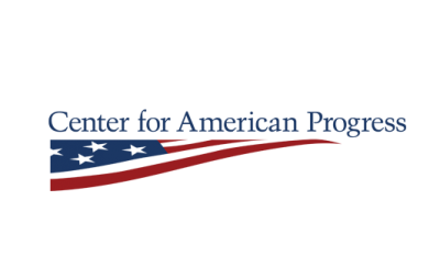 The Center for American Progress logo, which features their name on one line above a triangular portion of an American flag.
