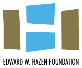 The logo of the Edward W. Hazen Foundation, which features the name of the foundation below two four-sided blue shapes between two four-sided brown shapes, which collectively form a white H.