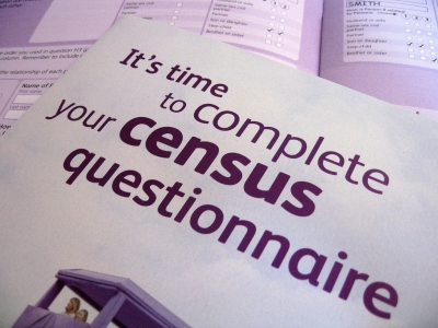 "Pile of documents, the top one with the words: ""It's time to complete your census questionnaire."" Accompanies GCIR's Call to Action for Philanthropy: Census 2020 Citizenship Question."