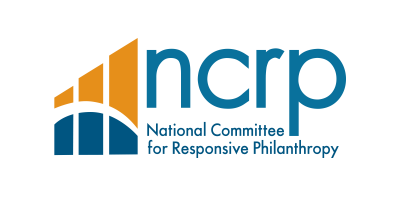 The logo for National Committee for Responsive Philanthropy (NCRP) which features their acronym in lower case letters on the right, their spelled out name below it, and three chart style bars on the left, in blue and gold, with a line running through them arcing downwards.