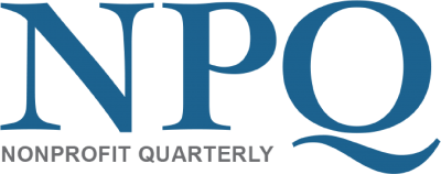 The image is Non Profit Quarterly's logo, the letters NPQ in blue with the full name spelled out underneath