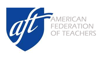 American Federation of Teachers logo, featuring their name on the right with a blue badge with their acronym, AFT, in white letters on the left. Posted to accompany their report, Private Prisons and Investment Risks.