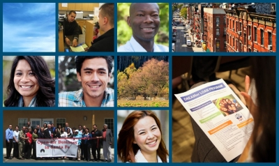 A collage of photos, featuring faces of men and women, including a opening of a credit union in Santa Fe and someone looking at a handout. Accompanies GCIR's resource, Dreamer Loan Programs: The Power of Partnerships with Community Development Credit Unions.