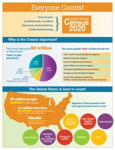 Everyone Counts! A Census 2020 infographic.
