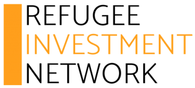 Image contains the logo of the Refugee Investment Network, in black and orange font color with an orange sidebar