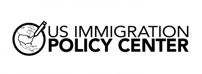 The U.S. Immigration Policy Center logo, which features their name spelled out on the right on two lines, with the last two letters bolded, and a globe on the left with a pencil outlining the United States. Accompanies their report, Seeking Asylum: Part 1.