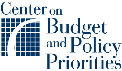 "Center on Budget and Policy Priorities logo, which features their name spelled out in blue and a blue chart in the lefthand corner with an upward sloping white line. Accompanies their issue brief, Immigrants Contribute Greatly to U.S. Economy, Despite Administration's ""Public Charge"" Rule Rationale."