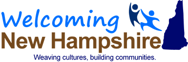 The Welcoming New Hampshire logo, which features the logo in blue and brown to the left of a mountain side and two figures dancing, all above the tagline, 'Weaving cultures, building communities.'