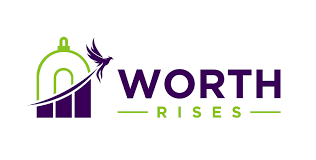 Worth Rises logo, featuring their name on the right and a green building on the left with a purple bird flying upwards with a flight path shaded purple to look like a bar chart showing a steady increase. Posted to accompany their resource, Immigration Detention: An American Business.
