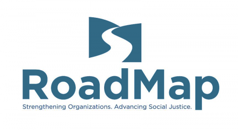 "The logo of RoadMap, the consulting agency, which shows an illustration of a path through hills on the horizon, accompanied by the words ""RoadMap: Strengthening Organizations, Advancing Social Justice."""