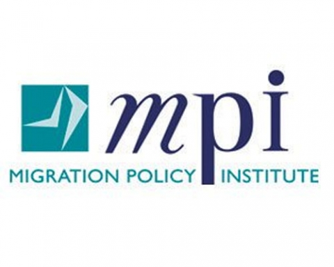 "Migration Policy Institute logo, which features a green box with two lighter green arcing symbols like legs and the lowercase letters in dark blue, with the full name spelled out below. Posted in relation to their analysis, ""Us"" or ""Them""? How Policies, Public Opinion, and Political Rhetoric Affect Immigrants' Sense of Belonging."