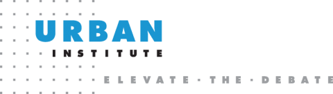 "Urban Institute logo, which shows their name in capital letters, with Urban in larger blue letters and Institute in smaller black letters, in front of a grid of dots on the left and the tagline ""Elevate the Debate."""